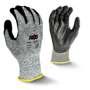 Radians M Size 13 ga Polyester Gloves with Nitrile Palm Dipped Gloves in Black, Salt-N-Pepper and Yellow RRWG555