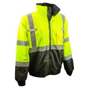 XXL Size Bomer Safety Jacket in Hi-Viz Green RSJ110B3ZGS2X at Pollardwater