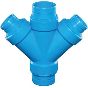 Orion Fittings Blueline™ 2 x 2 x 1-1/2 x 1-1/2 in. No-Hub Reducing Polypropylene Double Wye ORDLTYKJ