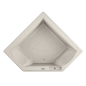 JACUZZI® Fuzion® 65-3/4 x 65-3/4 in. Acrylic Corner Drop-In or Undermount Air Bathtub with Center Drain and J5 LCD Control in Oyster JFUZ6666ACR5CXY
