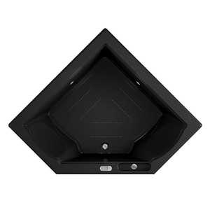 JACUZZI® Fuzion® 65-3/4 x 65-3/4 in. Acrylic Corner Drop-In or Undermount Air Bathtub with Center Drain and J5 LCD Control in Black JFUZ6666ACR5CXB