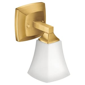 Creative Specialties International Voss™ 5-5/16 in. 100W 1-Light Medium E-26 Incandescent Vanity Fixture with Frosted Glass in Brushed Gold MYB5161BG