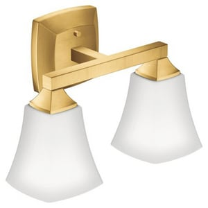 Creative Specialties International Voss™ 14-1/16 in. 100W 2-Light Medium E-26 Incandescent Vanity Fixture with Frosted Glass in Brushed Gold MYB5162BG