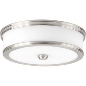 Progress Lighting Bezel 13 in. 25W 1-Light LED Flush Mount Ceiling Fixture in Brushed Nickel PP35008600930