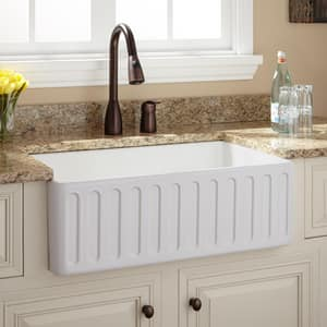Signature Hardware Northing 30-1/4 x 18-1/2 in. No Hole Fireclay Single Bowl Apron Front Kitchen Sink in White SH400556