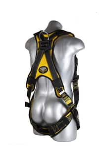 GF Protection Cyclone XL 450 lb. Polyester and Nylon Construction Harness with Galvanized Steel Buckle in Black and Yellow G21043 at Pollardwater