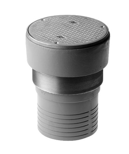 Jay R. Smith 4020 Series 4 in. No Hub Cast Iron Finish Floor Cleanout with Round Nickel Bronze Top and Carpet Marker Type S4023S04NSY
