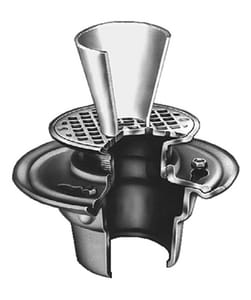 Jay R. Smith Funnel-Ceptor® Figure 3510 3 in. Cast Iron Floor Drain with 6 in. Round Nickel Bronze Grate S3510LXH03F1106NB