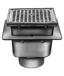 Jay R. Smith Sani-Ceptor® 3 in. No Hub Cast Iron Floor Drain with 8-1/2 in. Square Nickel Bronze 3/4 Grate S3100Y0313