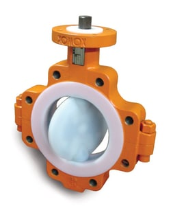 Xomox XLD Series 6 in. Ductile Iron PFA Gear Operator Handle Butterfly Valve XLD21GU