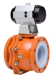 Xomox 1 in. Stainless Steel Full Port Flanged 150# PFA Lined Ball Valve XLB12A6P628P16HG