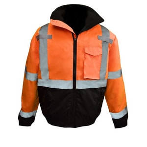 Radians XL Size Class 3 Polyester Weather Proof Bomber Jacket with Quilted Built-In Liner in Hi-Viz Orange RSJ11QB3ZOSXL
