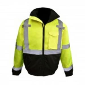 Radians XL Size Class 3 Polyester Weather Proof Bomber Jacket with Quilted Built-In Liner in Hi-Viz Green RSJ11QB3ZGSXL