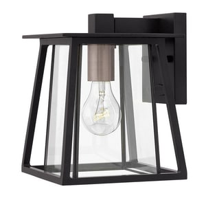 Hinkley Lighting Walker 7-3/10 x 9-1/2 in. 100W 1-Light Mini Medium E-26 Incandescent Outdoor Wall Sconce in Black H2106BK