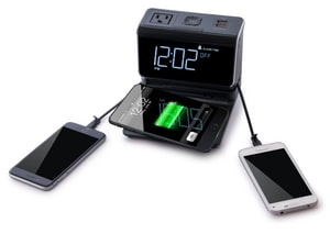100/240V Multi-Function ABS Charging Station with Clock and Alarm Featuring Built-in Apple Lightning, Micro USB Connector Cables, 2X USB Ports and AC Power Socket in Black KKSE1100US