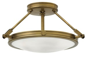 Hinkley Lighting Collier 3-Light Semi-Flushmount Ceiling Fixture in Heritage Brass H3381HB