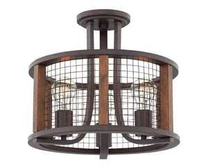 Hinkley Lighting Beckett 100W 3-Light Medium E-26 Incandescent Semi-Flush Mount Ceiling Fixture in Iron Rust H4823IR