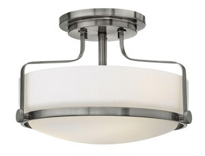 Hinkley Lighting Harper 10 in. 100W 3-Light Incandescent Medium E-26 Ceiling Light with Etched Opal Glass in Brushed Nickel H3641