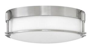 Hinkley Lighting 16-1/2 x 5-4/5 in. 60W Medium Flush Mount Ceiling Fixture in Brushed Nickel H3233BN