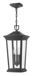 Hinkley Lighting Bromley 10 x 19-3/10 in. 180W 3-Light Ceiling Mount Candelabra E-12 Hanging Outdoor Pendant in Museum Black H2362MB