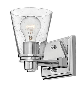 Hinkley Lighting Avon 7-3/10 x 7-1/2 in. 100W 1-Light Medium E-26 Wall Sconce in Polished Chrome with Clear H5550CMCL