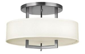 Hinkley Lighting 12 in. 3-Light Semi-Flushmount Ceiling Light in Antique Nickel HIN3201AN
