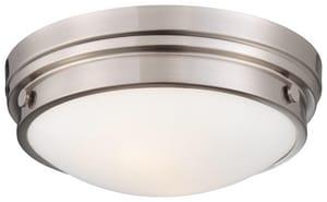 Minka 4-3/4 x 13-1/4 in. 60 W 2-Light Medium Flush Mount Ceiling Fixture in Brushed Nickel M823