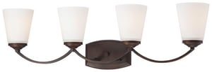 Minka-Lavery Overland Park 30-1/2 in. 4-Light Bath Light with Etched White Glass in Vintage Bronze M6964284
