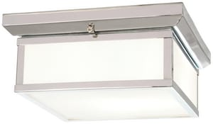 Minka Daventry Bath 13 in. 60W 2-Light Flushmount with White Glass Shade M6919
