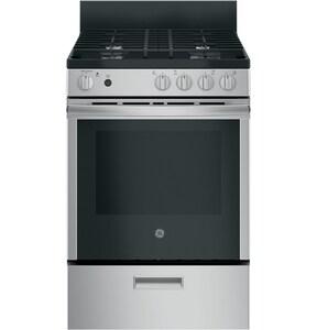 GE Appliances 24 in. 4-Burner Freestanding Gas Range in Stainless Steel GJGAS640RMSS