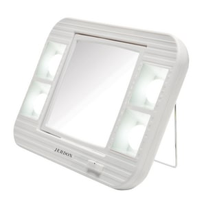 Jerdon Style 2-1/8 in. LED Lighted AC and Battery Powered Freestanding 5X Makeup Magnifying Mirror in White JJ1015