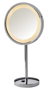 Jerdon Style 9-1/2 x 20 in. LED Lighted Table Top Freestanding 5X Magnifying Mirror with AC Outlet at the Base in Polished Chrome JHL1015CL