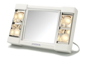 Jerdon Style 2-1/2 in. Freestanding 3X Makeup Magnifying Mirror in White JJ1010