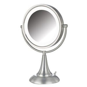 Jerdon Style 8-1/2 x 15 in. LED Lighted Freestanding Table Top 8X Magnifying Mirror in Nickel JHL8510NL