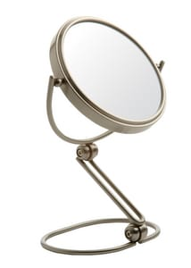 Jerdon Style 5-1/2 in. Folding Travel Freestanding 10X Magnifying Mirror with Black Travel Pouch in Nickel JMC449N