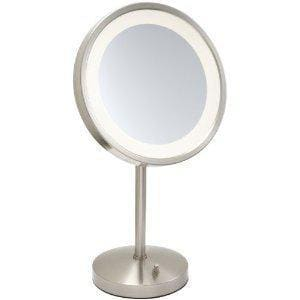 Jerdon Style 9-1/2 x 20 in. LED Lighted Table Top Freestanding 5X Magnifying Mirror with AC Outlet at the Base in Nickel JHL1015NL