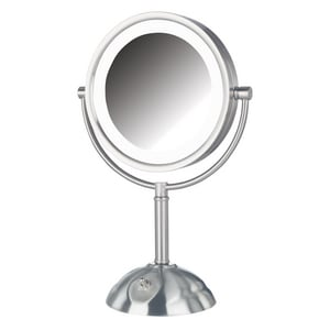 Jerdon Style 8-1/2 x 16 in. LED Lighted Freestanding Table Top 8X Magnifying Mirror in Nickel JHL8808NL