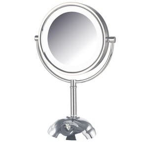 Jerdon Style 8-1/2 x 16 in. LED Lighted Freestanding Table Top 8X Magnifying Mirror in Polished Chrome JHL8808CL
