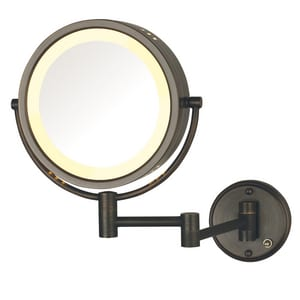 Jerdon Style 8-1/2 x 13-1/2 in. Halogen Lighted Wall Mount Direct Wired 8X Magnifying Mirror in Bronze JHL75BZD