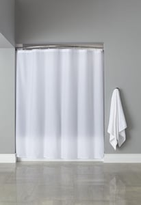 Focus Products Group Basic Poly Hooked™ 72 x 72 in. Polyester Shower Curtain (Case of 12) in White FHBB40PLW0172