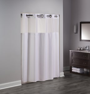 Focus Products Group Double H 77 x 71 in. Polyester Shower Curtain (Case of 12) in White FHBH53DTB01CRX