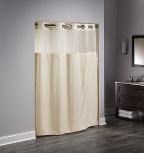 Focus Products Group Double H 74 x 71 in. Polyester Shower Curtain (Case of 12) in Beige FHBH53DTB05CR