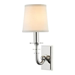 Hudson Valley Lighting Carroll 60W 1-Light Candelabra E-12 Base Wall Sconce in Polished Nickel HUD8400PN