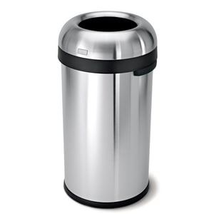 Simplehuman 60 L Heavy Gauge Bullet Round Open Top Commercial Trash Can in Brushed Stainless Steel SCW1407
