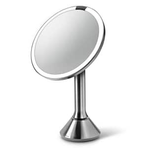 Simplehuman 8 x 18-1/10 in. Freestanding 5X Magnifying Mirror with Motion Sensor and Rechargeable Battery in Stainless Steel SBT1080