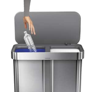 Simplehuman 58 L Nano-Silver Clear Coat Dual Compartment Rectangular Recycling Step-On Trash Can in Brushed Stainless Steel SCW2025