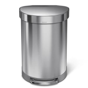 Simplehuman 60 L Fingerprint-Proof Semi-Round Liner Rim Step-On Trash Can in Brushed Stainless Steel SCW2029
