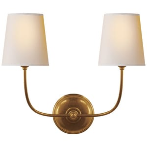 Visual Comfort & Co Thomas O'Brien Vendome 9 in. 40W 2-Light Wall Sconce in Hand-Rubbed Antique Brass VTOB2008HABNP