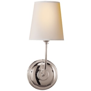 Visual Comfort & Co Thomas O'Brien Vendome 8-1/2 in. 40W 1-Light Wall Sconce in Polished Nickel VTOB2007PNNP