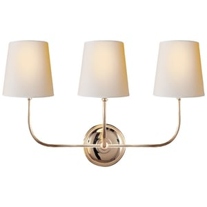 Visual Comfort & Co Thomas O'Brien Vendome 60W 3-Light Medium E-26 Wall Sconce in Polished Nickel VTOB2009PNNP